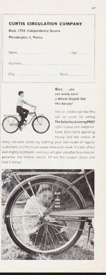 you can easily earn a deluxe bicycle like this beauty! Look Magazine, Time Magazine, Magazine Ads, Bicycling Magazine, Newspaper Advertisement, Saturday Evening Post, Good Housekeeping, Sports Illustrated, My Ride