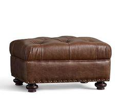 Lansing Leather Ottoman, Havana Brown