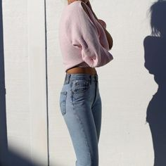 Jeans: light blue cropped sweater pink sweater ribbed high waisted 90s style