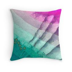 """Abstract art ""Purple and turquoise"""" Throw Pillows by floraaplus 