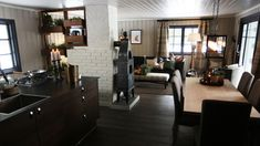 Eventyrlig Oppussing på Horgeseter Scandinavian Cabin, Kos, Living Area, Table, Retirement, Furniture, Home Decor, Decoration Home, Room Decor