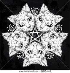 Black cat head round portrait madnala with moon, pentagram. Ideal Halloween and tattoo art, wicca, witchcraft, spirituality, boho design. For print, posters, t-shirts, textiles. Vector illustration