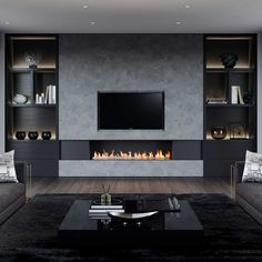 This dramatic living room design centers around our linear dancing fireplace with stunning symmetry. Living Room Wall Units, Living Room Modern, Home Living Room, Living Room Designs, Living Room Decor, Living Spaces, Masculine Living Rooms, Living Dining Combo, Fireplace Tv Wall