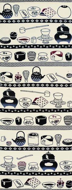 """大豆生田, """"Chadogu"""" tenugui Japanese tea set tools motif..."""