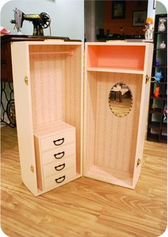 doll box wardrobe - made from 2 wooden boxes from Hobby Lobby