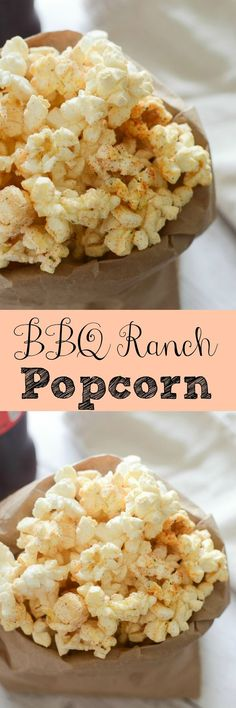 BBQ Ranch Popcorn recipe - a fun way to jazz up a plain bag of popcorn! And so easy! Interested in a popcorn wine pairings event. Popcorn Snacks, Gourmet Popcorn, Salty Snacks, Popcorn Recipes, Snack Recipes, Popcorn Balls, Popcorn Toppings, Popcorn Mix, Popcorn Kernels