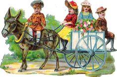 Oblaten Glanzbild scrap die cut chromo Kind child Kutsche coach Esel donkey ane