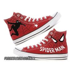 Spider-Man Custom Converse Painted Shoes ❤ liked on Polyvore featuring shoes, converse shoes, converse footwear, acrylic shoes and lucite shoes
