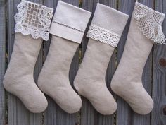 Better than Burlap Linen Christmas Stocking with Cuff. $25.00, via Etsy.