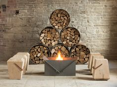 BORE Logstore - BOURNE Firepit - STOR Stool - TALUS Stool by Dyehouse