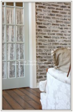 French Famrhouse-DIY Faux Brick Wall- From My Front Porch To Yours