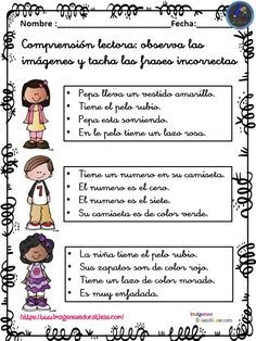 Comprensión lectora primaria y primer grado FRASE CORRECTA - Imagenes Educativas Elementary Spanish, Spanish Classroom, Teaching Spanish, Teaching Activities, Teaching Tips, Professor, Lectures, Reading Comprehension, Teacher Resources