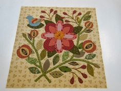 """Block from reproduction The Caswell Quilt c. 1835 by Corliss Searcy. 71.5"""" x 82.5"""" I'd be more inclined to use this as a center medalion in a wallhanging."""