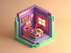 isometric room designed by MK. Connect with them on Dribbble; the global community for designers and creative professionals. Isometric Art, Isometric Design, Isometric Drawing Exercises, Blender 3d, Badge Design, 3d Design, Cube World, 3d Cinema, 3d Modelle