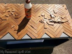 Wooden Chevron Table Top using Shutter Slats Diy Wood Projects Chevron Shutter Slats Table Top wooden Diy Table Top, Wooden Table Top, Tabletop, Outdoor Table Tops, Chevron Table, Plank Table, Concrete Dining Table, Chevrons, Painted Sticks