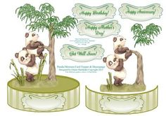 Panda Monium Shaped Card Topper With Decoupage on Craftsuprint - Add To Basket!