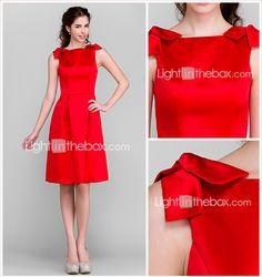 Knee-length Satin Bridesmaid Dress - Ruby Plus Sizes / Petite A-line Bateau 2015 – $79.99