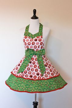 Full ApronSweetheart Retro Neckline TwoTiered Elf by KatesCotton, $20.00