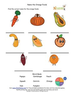 Printables Nutrition Worksheets coloring colors and plates on pinterest name the orange foods please make sure to print answer key as well