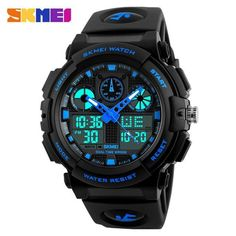 SKMEI Brand Men Dual Display Wristwatches LED Male Sports Style Waterproof Alarm Military Luxury PU Band Relogio Masculino 1270