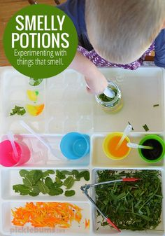 Smelly Potions Activity - Experiment with things that smell with this simple sensory and science play idea