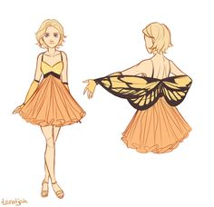 Cress' butterfly dress from the lunar party. Without the horrific antennae hat The top layer of the wings is attached to her wrist, and the bottom layer is attached to her elbow. I don't know if yo...