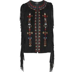 Isabel Marant Maxime fringed embroidered suede vest (18 735 ZAR) ❤ liked on Polyvore featuring outerwear, vests, black, suede leather vest, isabel marant, black waistcoat, fringe vest and isabel marant vest