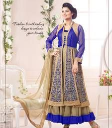 Buy Blue embroidered Georgette unstitched salwar with dupatta wedding-salwar-kameez online