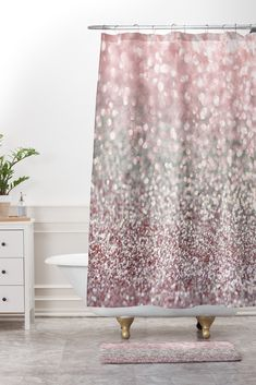 Lisa Argyropoulos Girly Pink Snowfall Shower Curtain And Mat Peach Shower Curtain, Shower Curtain Sets, Fabric Shower Curtains, Bathroom Shower Curtains, Cute Bathroom Ideas, Small Bathroom Sinks, Bathrooms, Reclaimed Wood Bathroom Vanity, Curtains Pictures