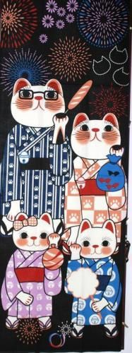 Japanese Traditional Towel Hand Towel Maneki Neko