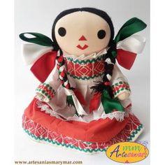 Muñeca Grande Otomí de colores Mexicanos www.artesaniasmarymar.com