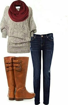 Comfy fall outfit. ....love the boots!