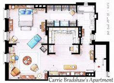 Carrie Bradshaw's Apartment--Floor Plans to Your Favorite TV Shows--Inaki  Aliste