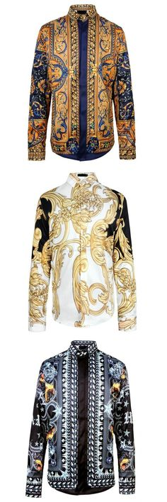 2017 Chemise Homme Marque Luxe Baroque Shirts Mens Fashion Shirts Vintage Mens Shirts Luxury Black Gold Print Vintage Mens Fashion Mens Fashion Men Shirt Style