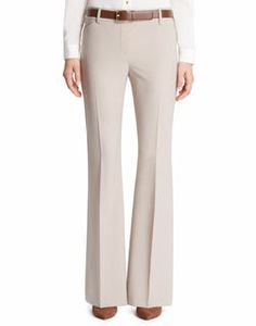 "Wool blend modern pant.  . 53% Polyester, 43% Wool, 4% Lycra Elastane . Unlined . Front pockets . Center front button closure . 33"" . Dry Clean . Imported . Style Code: 10422039"