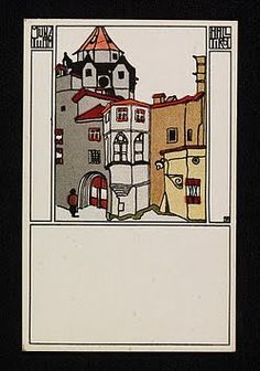collection of unsigned Wiener Werkstatte postcards, lithographs, ~1906