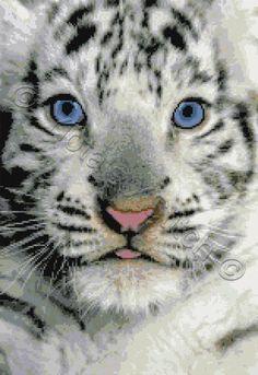 White tiger cub cross stitch kit, pattern | Yiotas XStitch