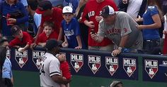 David Ortiz Holds Fan's Baby During National Anthem, Cuteness Overload Crashes National Power Grid Mlb, David Ortiz, National Anthem, Grid, Hold On, Baseball Cards, Cute, Sports, Hs Sports