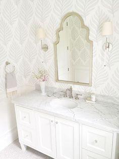 bathroom wallpaper 15 Incredible Bathroom Design Ideas to Inspire Your Next Remodel Bathroom Wallpaper Beach, Powder Room Wallpaper, Mirror Bathroom, Bedroom Wallpaper, Palm Wallpaper, Mirror Vanity, Remodel Bathroom, Bathroom Bin, Print Wallpaper