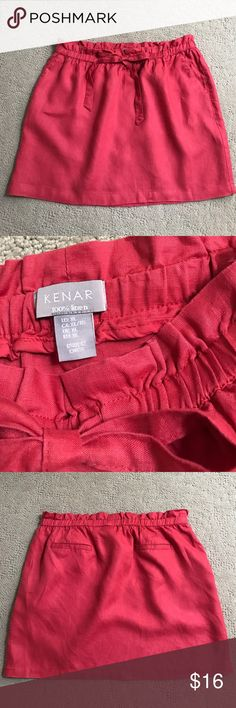 "KENAR✨Casual Linen Skirt Coral shade, elastic tie waist in size XL. Faux back pockets. 17"" length. Kenar Skirts"