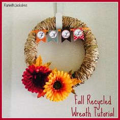 RunwithJackabee: Fall Recycled Wreath Tutorial