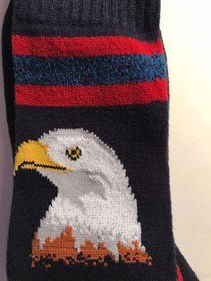 Hot Sox Mens Bald Eagle Trouser Sock, Navy Boot Crew Socks Patriotic #HotSox #Casual