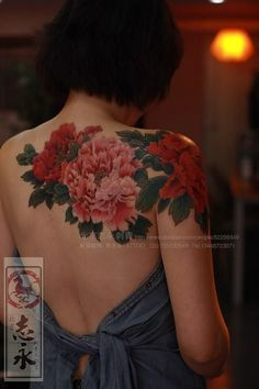 Colour peony flowers shoulder/back tattoo by Master Ma.