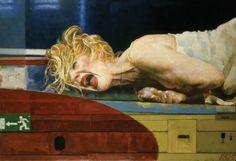 la autora es Xenia Hausner nla obra se llama TOM LIEBER Red Spot, 2014  la tecnica usada es  aceite gesso sobre tela la imagen ha sido generada por medio de adición de materia.
