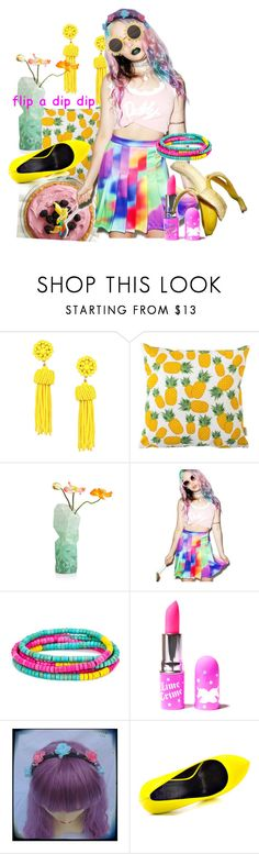 """""""Flip"""" by she-is-mystery ❤ liked on Polyvore featuring Rosa & Clara Designs, PèPè, O-Mighty, Lola James Jewelry, Lime Crime, H&M, TaylorSays and pride"""