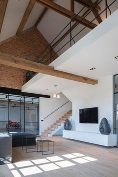 Home Interior Design, Interior Architecture, Interior And Exterior, Garage Design, Loft Design, Open Trap, White Wood, Modern Rustic, Decoration