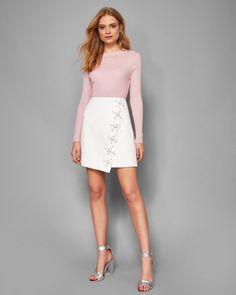 Embellished wrap mini skirt - White | Skirts | Ted Baker SEU