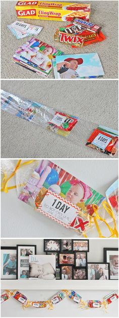 Birthday Garland! A little Seran wrap, some candy and string. One amazing way to countdown to a child's birthday!