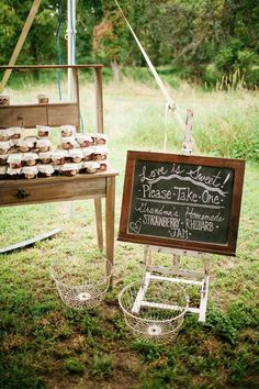 Luscious Rustic New York Wedding Reception from Fabrice Tranzer - wedding favor table idea