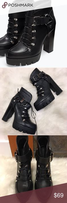 Zara Leather Platform Heel Booties! Sz 6 These are absolutely AMAZING and seriously giving me Alexander McQueen vibes. All Leather and covered in buckles we swoon 😍! Lace up laces that can be tucked for a clean look. Omg! Don't let these get away! Happy Poshing 💁🏾✨ Zara Shoes Platforms